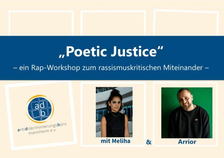 Titelbild des Rap-Workshops Poetic Justice mit den Fotos von Personen namens Melia und Arrior